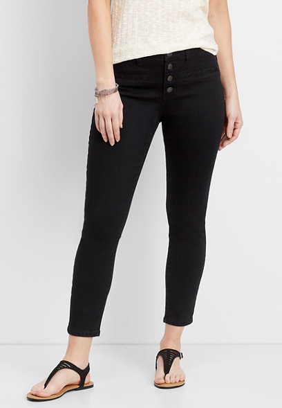 DenimFlex™ black high rise button fly ankle jegging