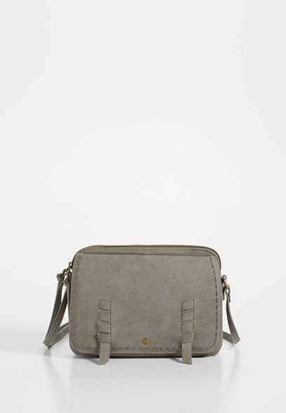 dual pocket whipstitch crossbody bag