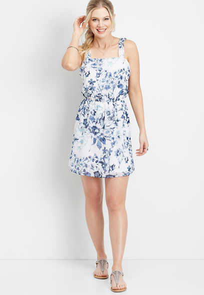 floral ruffle strap dress