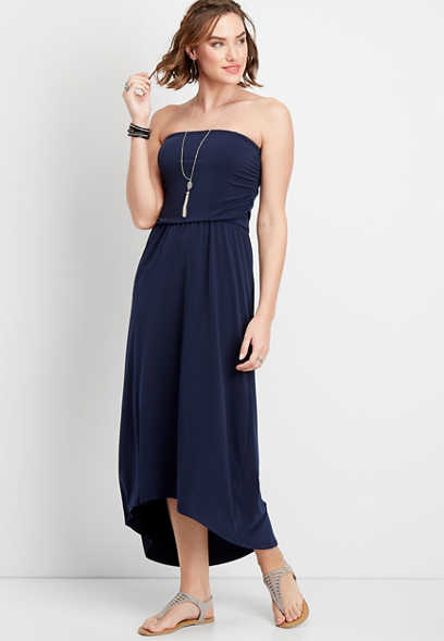 solid tube top maxi dress