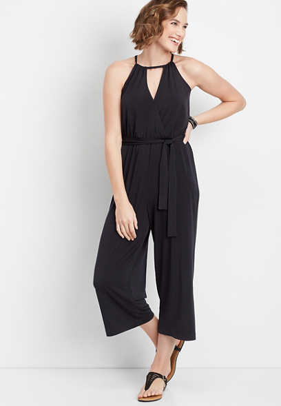 solid v-neck tie front jumpsuit