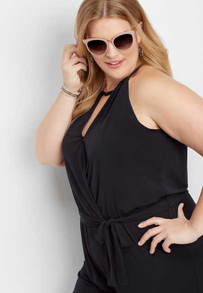 plus size solid v-neck tie front jumpsuit