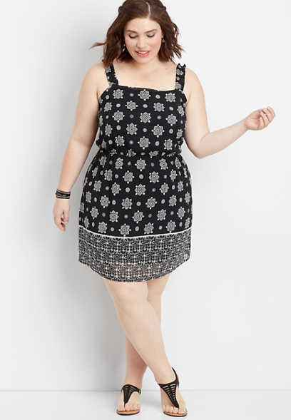plus size border print ruffle strap dress