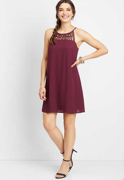 linked lattice tank dress