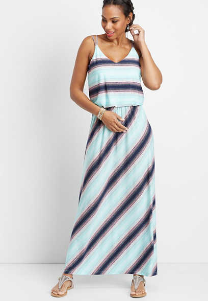 stripe flare v-neck maxi dress