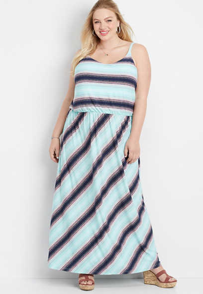 plus size stripe flare v-neck maxi dress