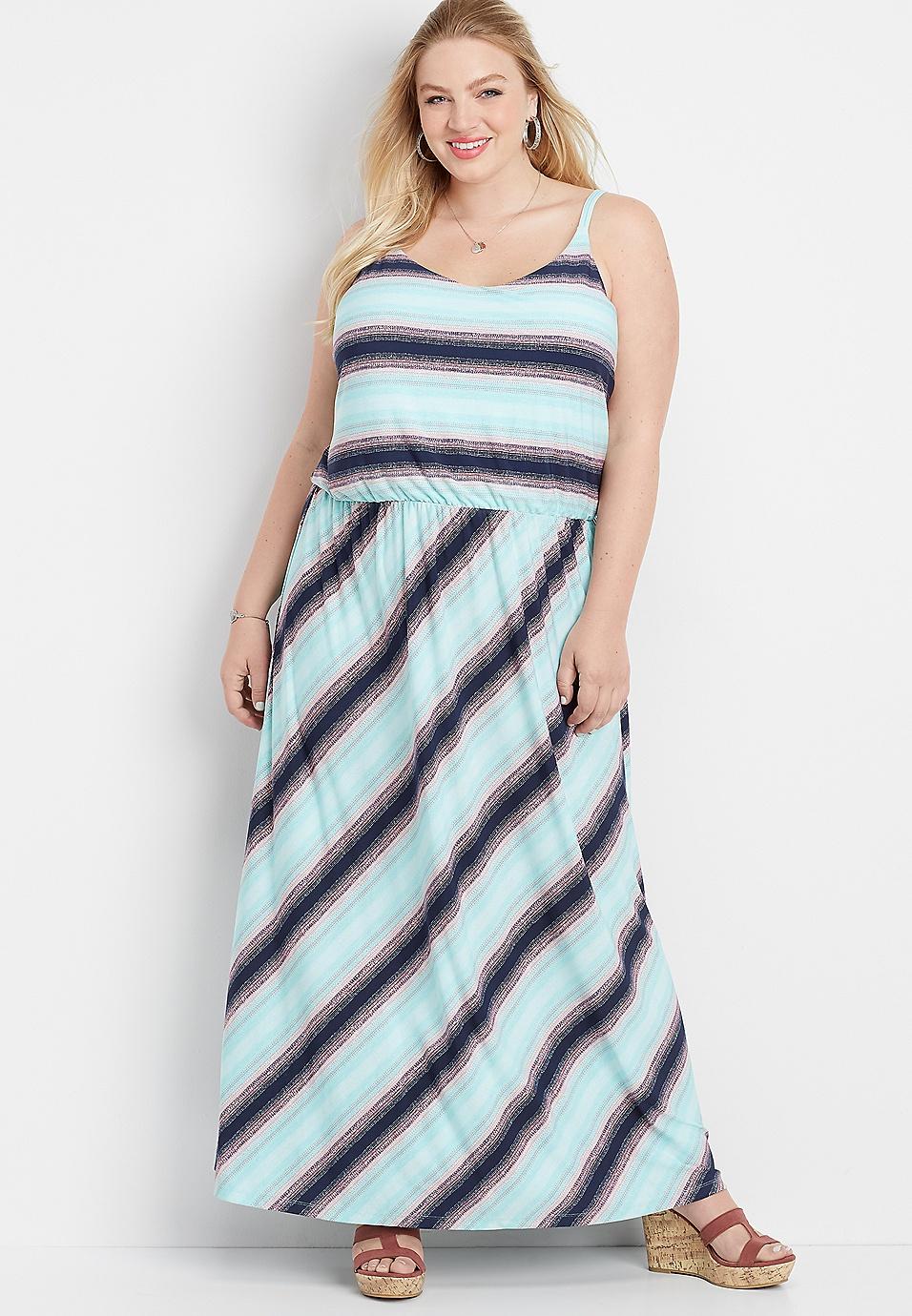 plus size stripe flare v-neck maxi dress | maurices