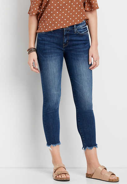 Flying Monkey™ dark fray hem skinny cropped jean
