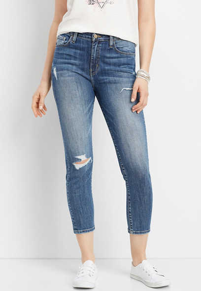Flying Monkey™ high rise destructed slim boyfriend jean