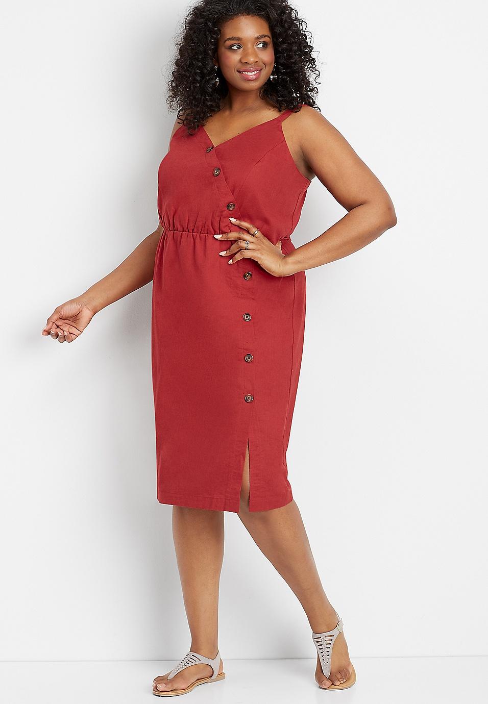plus size linen button front dress