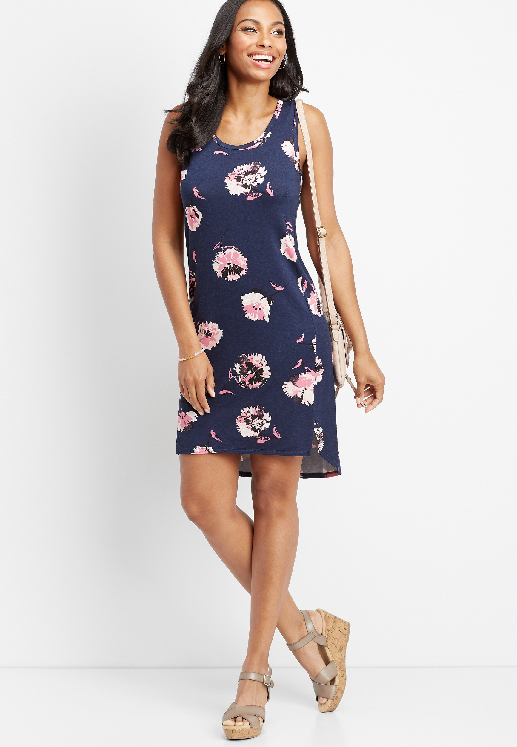 24/7 Floral Scoop Neck Tank Dress by Maurices