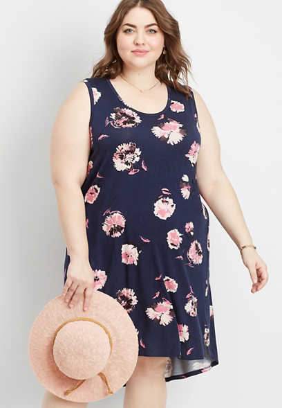plus size 24/7 floral scoop neck tank dress