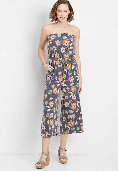 floral tube top jumpsuit