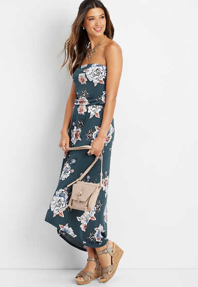 floral print strapless maxi dress