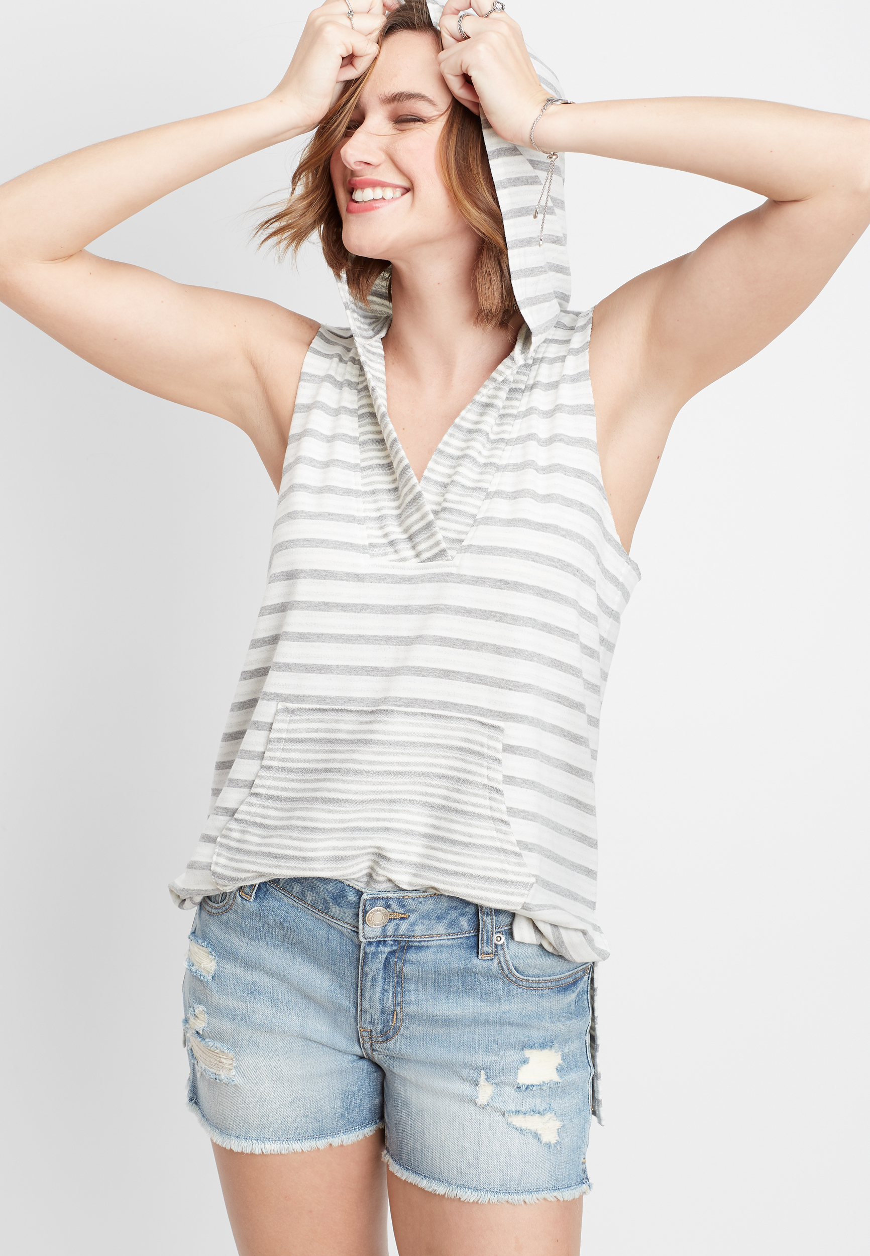 Sleeveless Stripe Tunic Pullover Hoodie by Maurices
