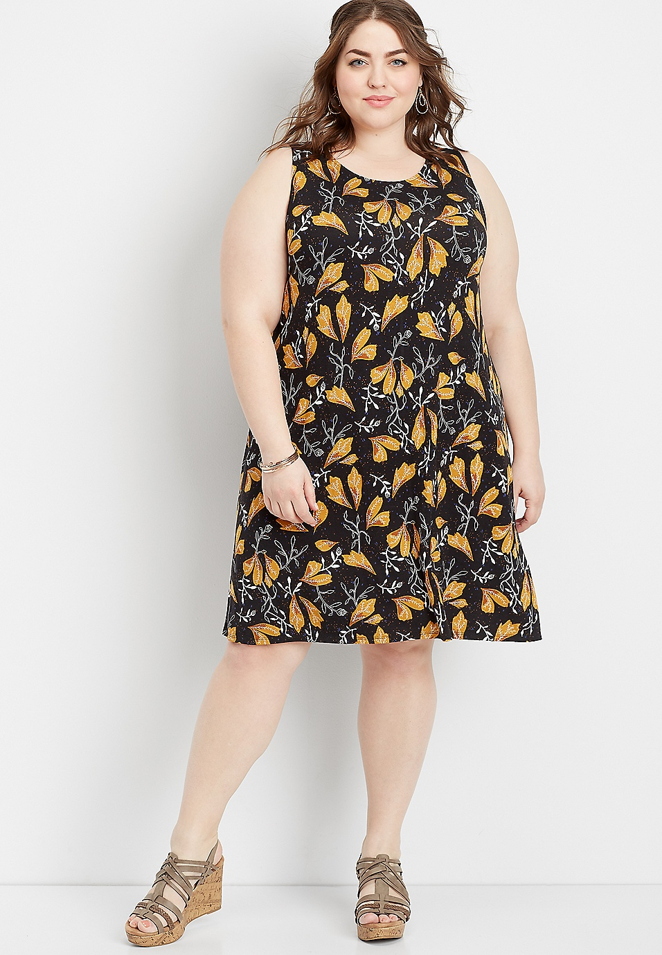 plus size 24/7 floral print tank dress