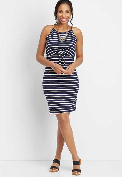 24/7 stripe knot front dress