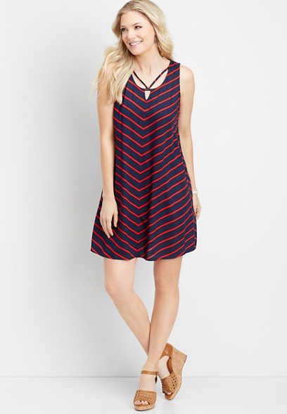 strappy neck chevron dress