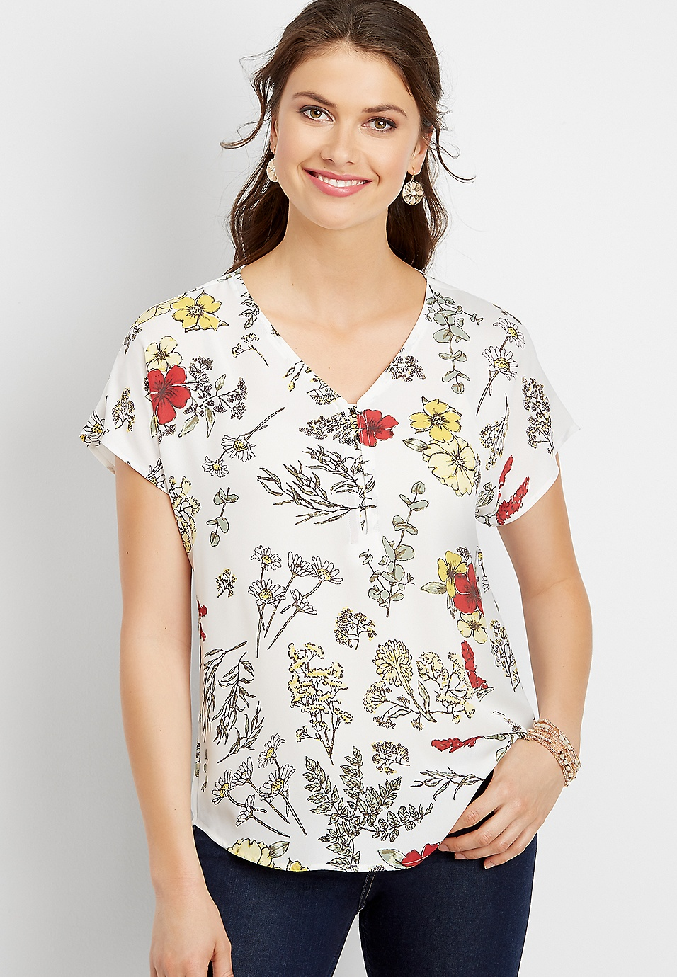ac1e994ae1d8a3 floral hook and eye v-neck top | maurices