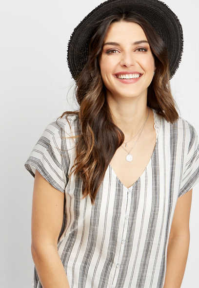 stripe button down pullover top