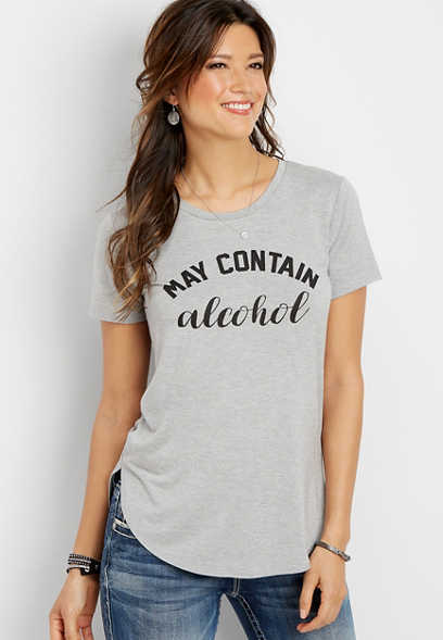 plus size may contain alcohol graphic tee