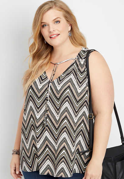 plus size chevron tie front v-neck tank