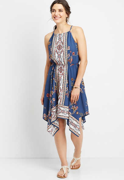 border print hanky hem dress