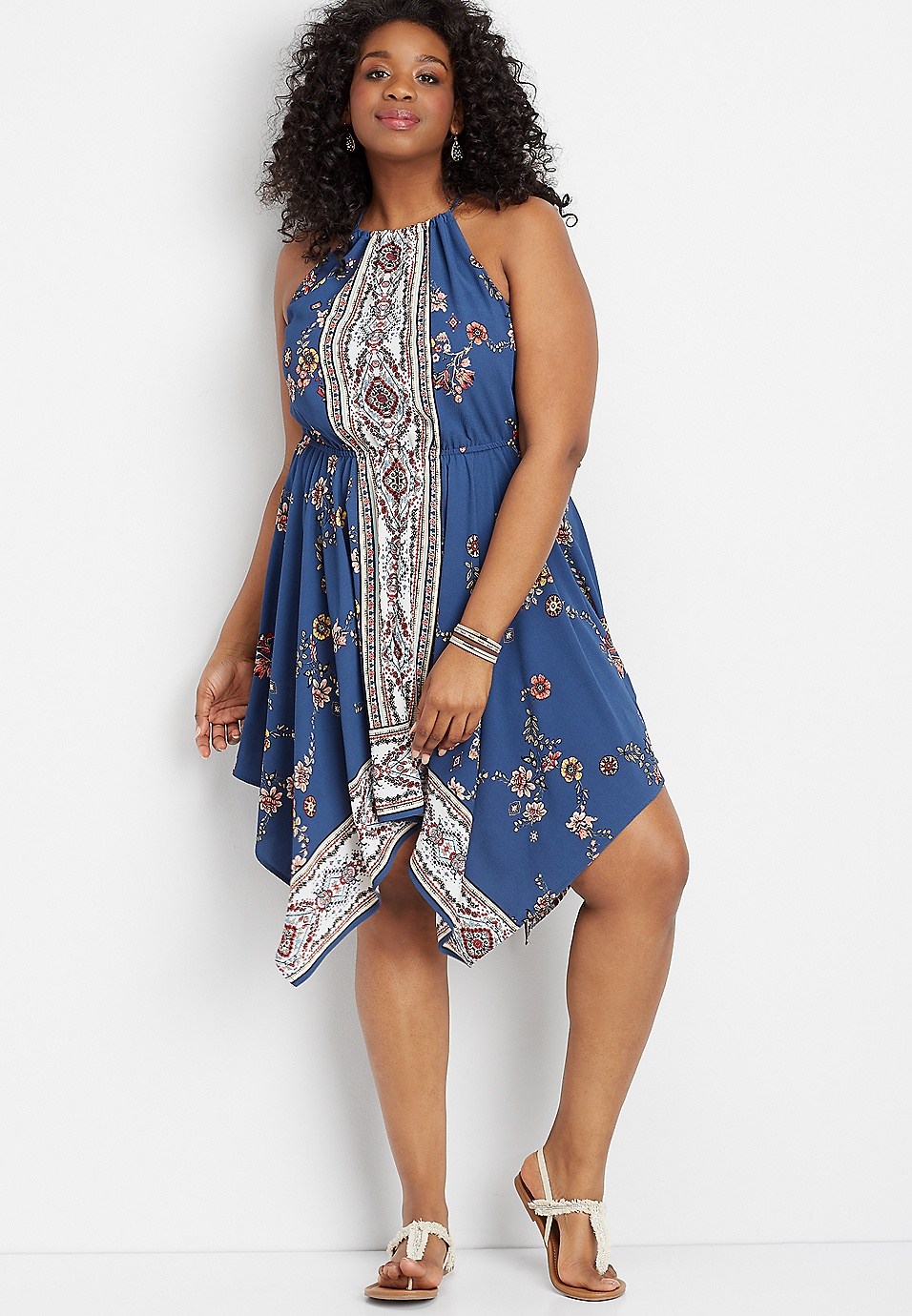 plus size border print hanky hem dress
