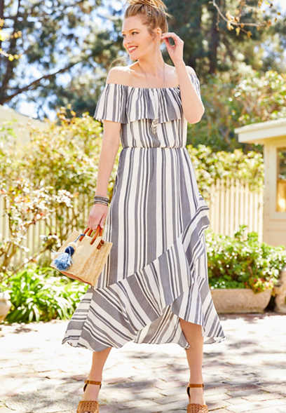 ruffled stripe off the shoulder maxi dress