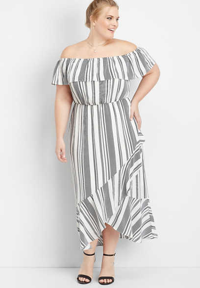 plus size ruffled stripe off the shoulder maxi dress