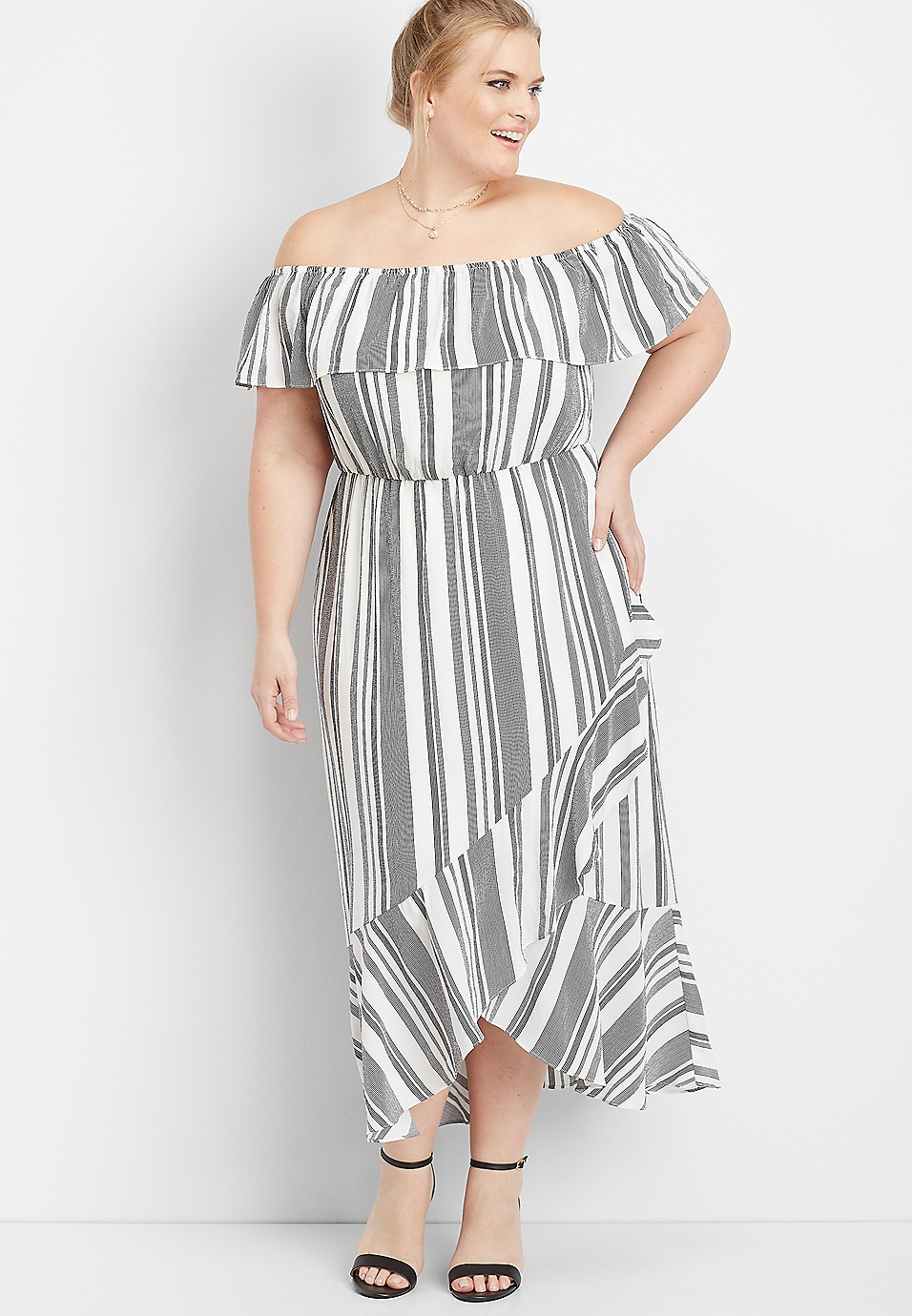 plus size ruffled stripe off the shoulder maxi dress | maurices