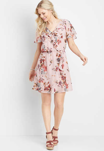 ruffled floral v-neck wrap dress