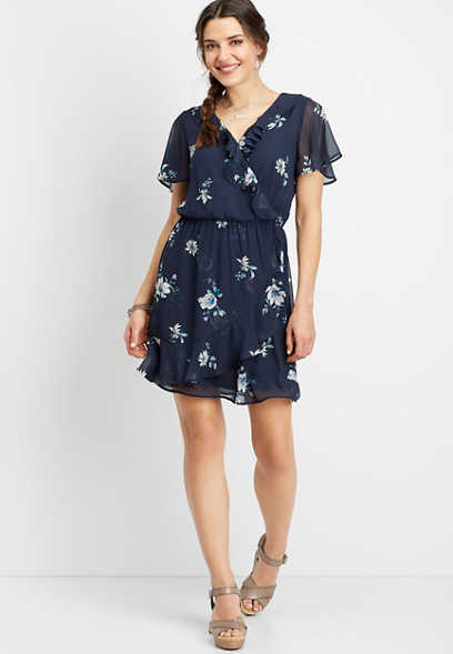 ruffled floral wrap dress