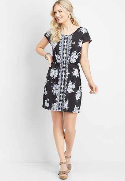 border print lattice back dress
