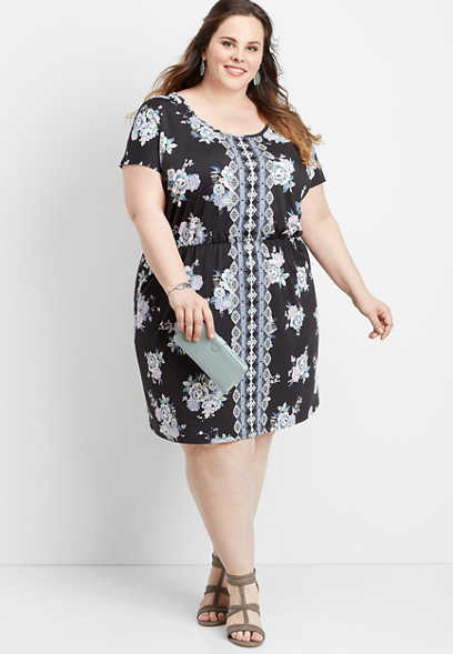 plus size border print lattice back dress