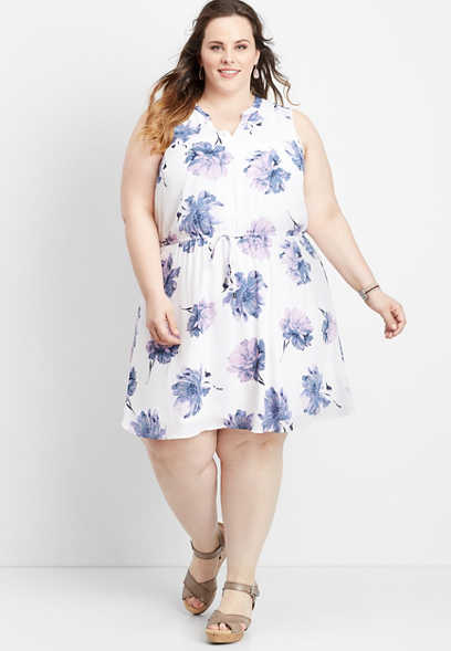 plus size floral v-neck tie waist dress