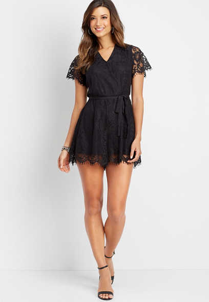 v-neck lace romper