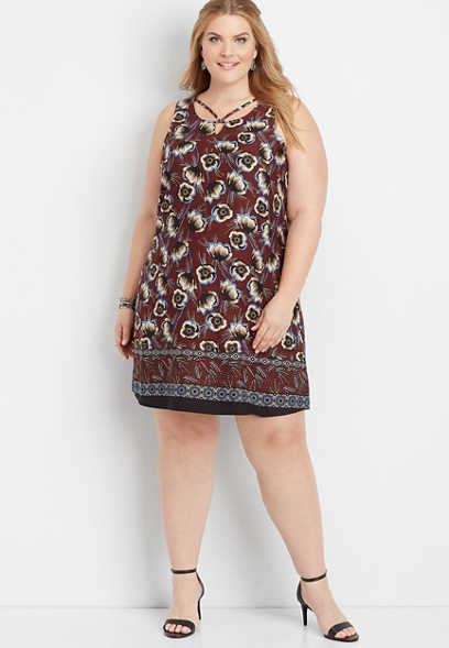 plus size floral border print shift dress