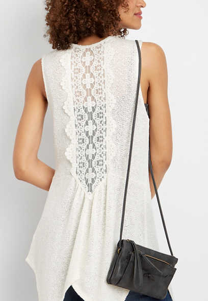 pieced back lace vest
