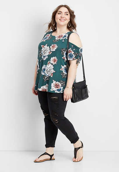 plus size 24/7 floral cold shoulder ruched sleeve tee