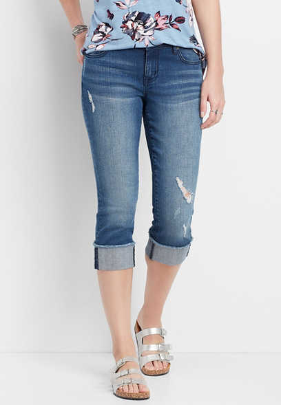 DenimFlex™ medium wash fray cuffed capri