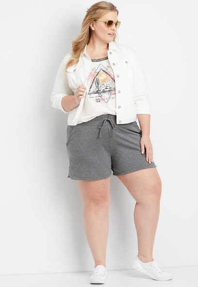 "plus size charcoal 5"" french terry short"
