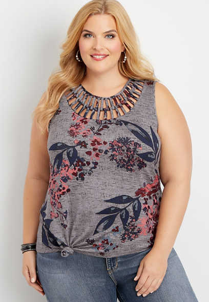 plus size floral lattice neck knot front tank