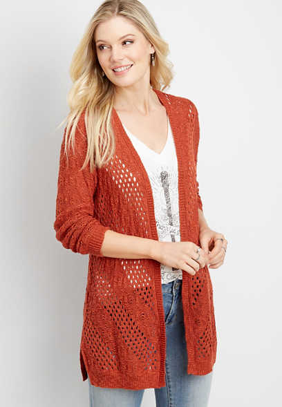 lace up back stitch cardigan