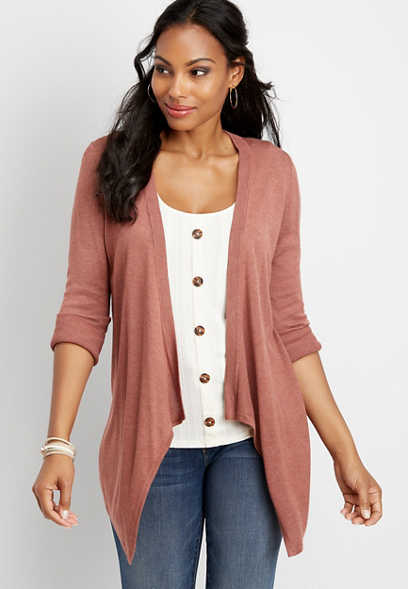 3/4 sleeve waterfall cardigan