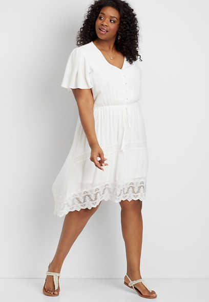 0371b7a3c98 plus size lace high-low prairie dress