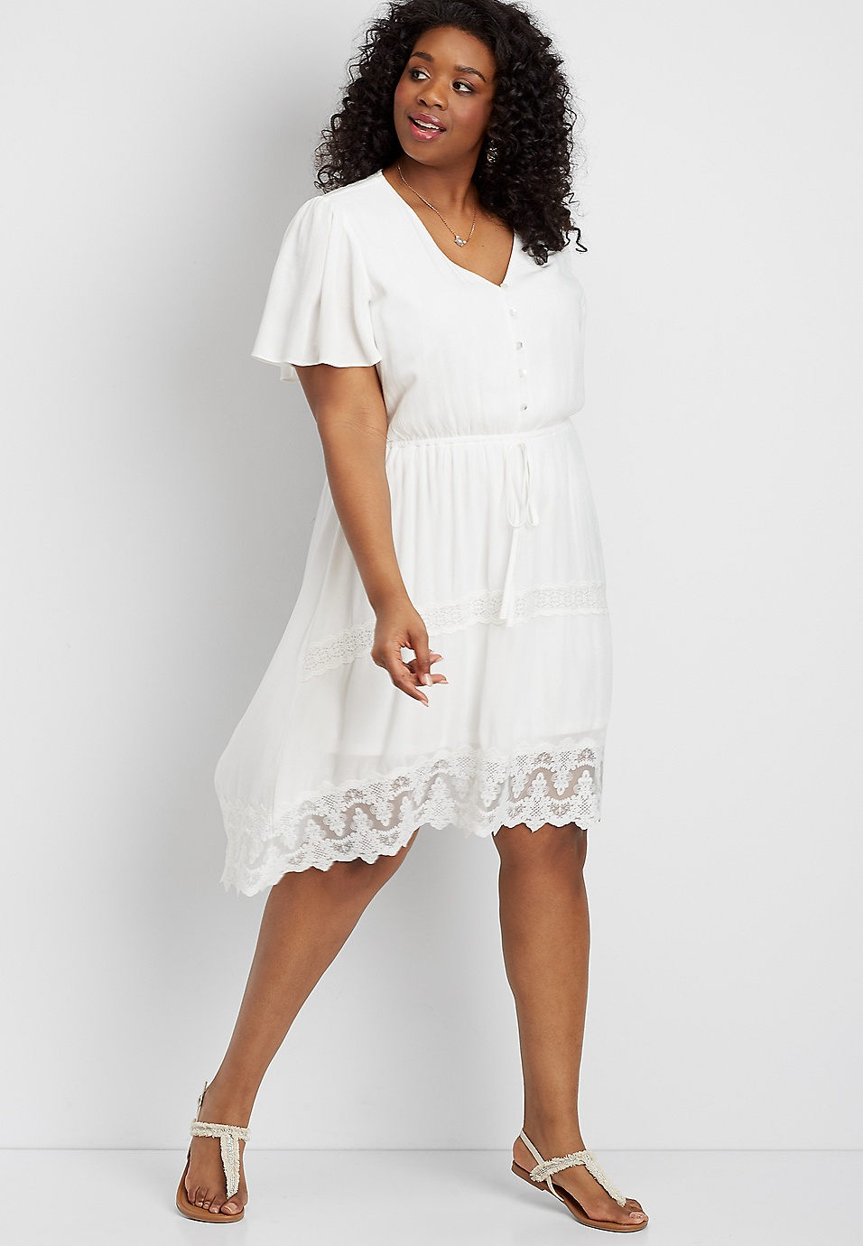 plus size lace high-low prairie dress