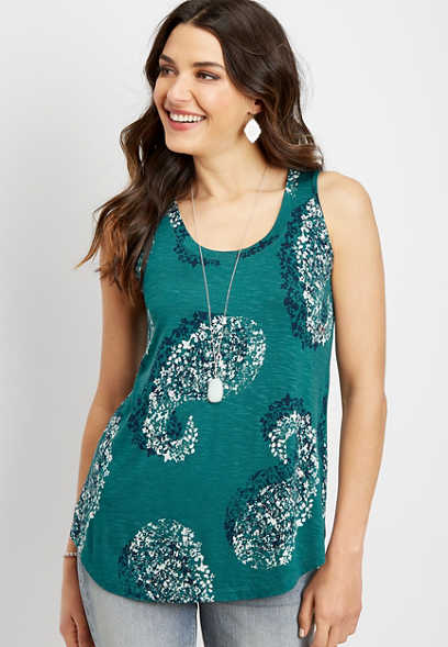 24/7 paisley scoop neck tank