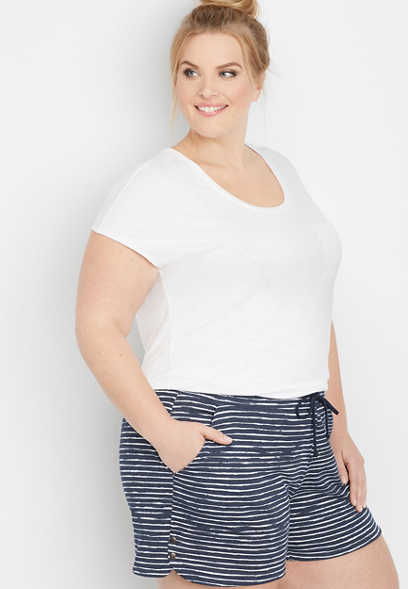 "plus size stripe side snap 5"" french terry short"