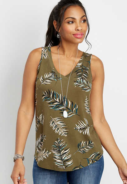 24/7 tropical palm v-neck tank